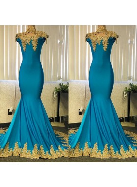 2021 Blue Mermaid High Neck With Gold Appliques Long Prom Dress