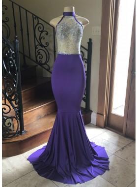 2021 Purple Sheath Elastic Satin Beaded See Through Long Prom Dress