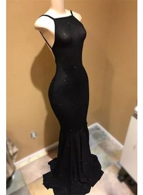 2021 Black Mermaid Backless Halter Long Prom Dress