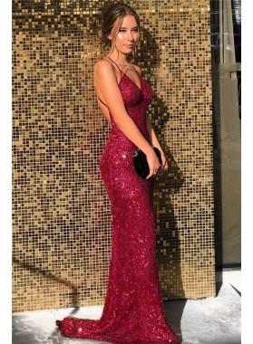 2021 Sheath Sweetheart Sequence Backless Long Burgundy Prom Dress