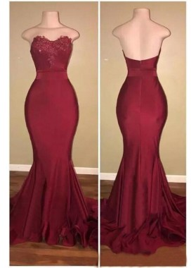 2021 Burgundy Strapless Sweetheart Long Sheath Prom Dress