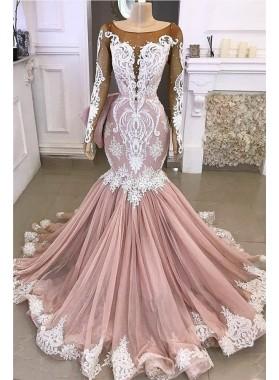 2021 Mermaid Dusty Rose Long Sleeves White Appliques Scoop Long Prom Dress