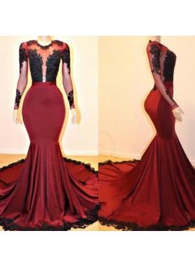 2021 Burgundy With Black Appliques Long Mermaid Scoop Prom Dress