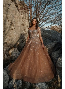 A Line Brown Long Sleeves 2021 Tulle Long Prom Dress