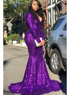 2021 Purple Sequence Long Sleeves Long Mermaid Prom Dress