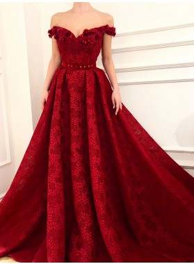 2021 A Line Red Off Shoulder Sweetheart Lace Long Prom Dress