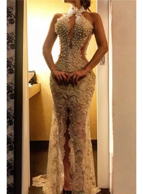 Sheath White Front Open Side Slit Lace Pearls Long Prom Dress 2021