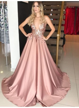 A Line Dusty Rose Satin V Neck Long Prom Dress Beaded 2021