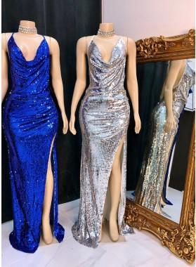 2021 Silver Halter Sequence Side Slit Backless Long Prom Dress