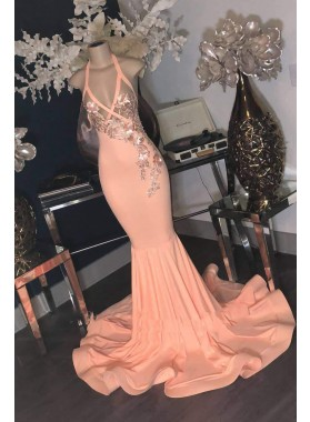2021 Sheath Peach Halter With Silver Appliques Long Backless Prom Dress