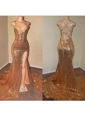2021 Gold Halter Lace Up Back Sequence Side Slit Long Prom Dress