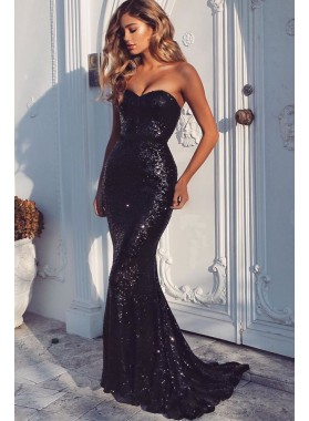 Black Mermaid Sweetheart Strapless Sequence Long Prom Dress 2021