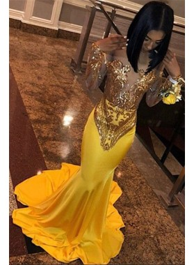 2021 Gold Long Sleeves Off Shoulder Sequence Long Prom Dress