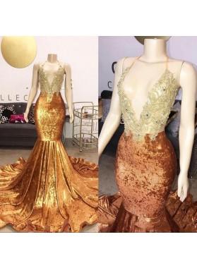 2021 Gold Halter Mermaid Backless V Neck Beaded Long Prom Dress