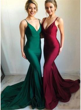Mermaid 2021 Long Sweetheart Satin Backless Burgundy Prom Dress