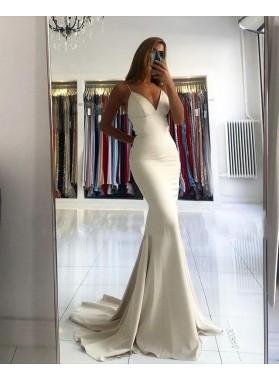 2021 Ivory Satin Empire Sweetheart Halter Long Mermaid Backless Prom Dress