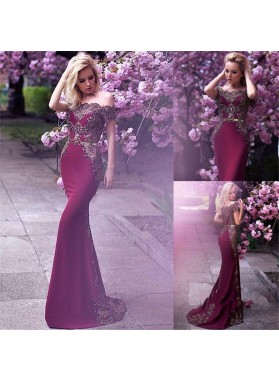 2021 Off Shoulder Mermaid Burgundy With Silver Appliques Long Prom Dress