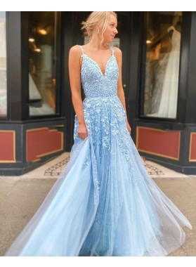 2021 Blue A Line Tulle With Appliques Sweetheart Prom Dress