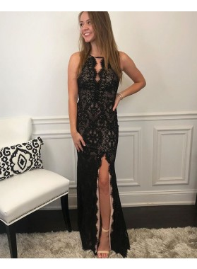 2021 Black Sheath Halter Backless Side Slit Long Lace Prom Dress