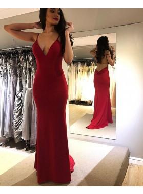 2021 Red Sheath Sweetheart Halter Long Backless Prom Dress