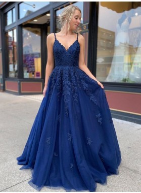 2021 A Line Dark Navy Sweetheart With Appliques Lace Up Backless Prom Dress