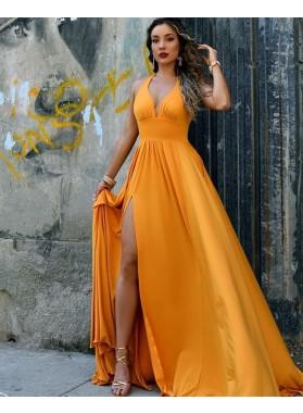 2021 A Line Side Slit Gold Sweetheart Halter Backless Long Prom Dress