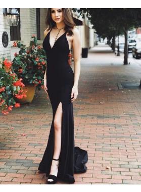 2021 Black Sheath Sweetheart Halter Backless Side Slit Long Prom Dress