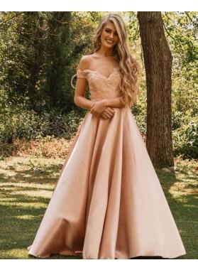 2021 A Line Blush Pink Off Shoulder Satin Sweetheart Prom Dress