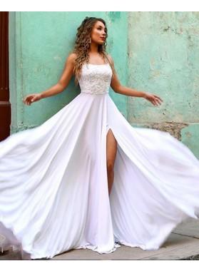 A Line White Scoop Halter Side Slit Long Backless 2021 Prom Dress
