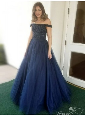 2021 A Line Dark Navy Off Shoulder Beaded Tulle Backless Long Prom Dress