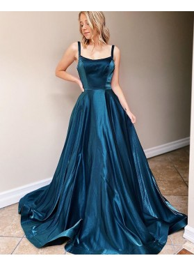 2021 A Line Scoop Halter Backless Blue Long Prom Dress