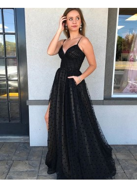 A Line Black Sweetheart Tulle Side Slit Halter Long Prom Dress 2021