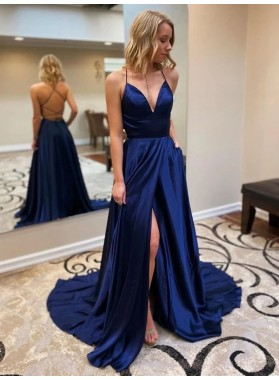2021 Royal Blue A Line Sweetheart Side Slit Long Backless Lace Up Back Prom Dress