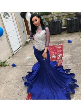 2021 Royal Blue Mermaid Long Sleeves Sequence Long Backless Prom Dress