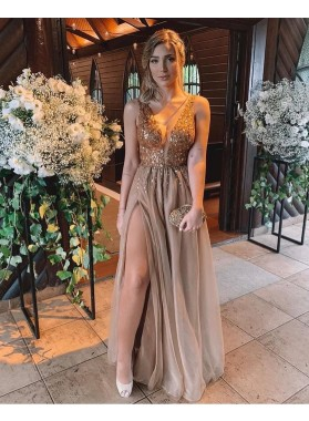 2021 A Line Brown Tulle Beaded Sweetheart Long Backless Prom Dress