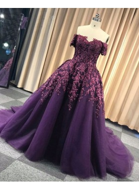 2021 Off Shoulder Regency Sweetheart Appliques Long Ball Gown Prom Dress