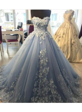 2021 Light Sky Blue Sweetheart Appliques Ball Gown Long Prom Dress