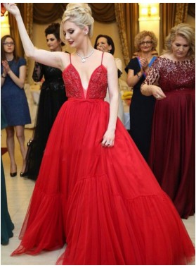 2021 A Line Red Sweetheart Tulle Bowknot Backless Long Prom Dress