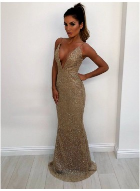 2021 Sheath Gold Sequence Deep V Neck Backless Long Prom Dress