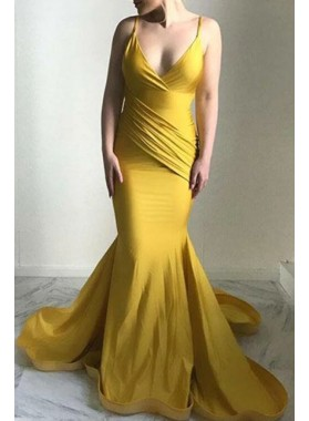 2021 Mermaid Gold Ruch Sweetheart Halter Backless Long Prom Dress