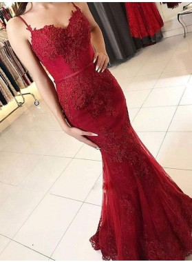 2021 Red Mermaid Sweetheart Tulle With Appliques Long Prom Dress