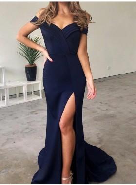 2021 Sheath Dark Navy Off Shoulder Sweetheart Side Slit Long Prom Dress