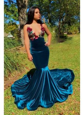 2021 Mermaid Deep V Neck Backless Embroidery Blue Prom Dress