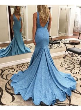 2021 Mermaid V Neck Blue Sequence Long Prom Dress