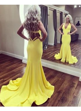 2021 Mermaid Yellow Halter V Neck Backless Long Prom Dress