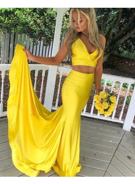 2021 Sheath Two Pieces Yellow Halter Long Prom Dress