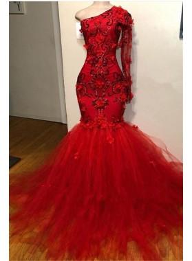 Mermaid 2021 Red Long Sleeves Tulle Beaded Long Prom Dress