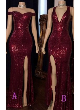 Burgundy 2021 Long Side Slit Sequence Off Shoulder Sweetheart Prom Dress
