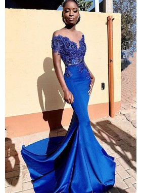 2021 Off Shoulder Sweetheart Satin Mermaid Royal Blue Long Lace Prom Dress