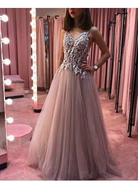 2021 A Line Tulle Beaded Champagne V Neck Long Prom Dress